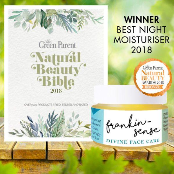 Green Parent Magazine 1018 Award Winner. Frankincense Face Cream. Awake Organics. Made in the UK.