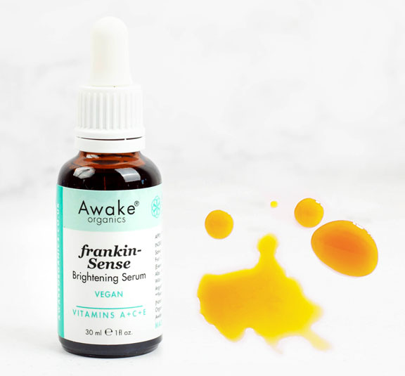 frankincense brightening   natural vegan face serum   UK   cruelty free   paraben free   dry   mature skin   awake organics   natural skin care brand UK   second image