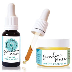 Frankincense face cream and Frankincense face serum, face oil for dry and mature skin. Mini Ritual Frankincense Rejuvenating Organic Face Serum. Made with anti anxiety, calming, soothing, mood-boosting essential oils that help you feel better. Anti-ageing, for younger looking Skin. Pure and natural. Made with Frankincense, Hemp, Seabuckthorn, Rosehip, Camellia Tea, Carrot Seed. Consciously Made in England.