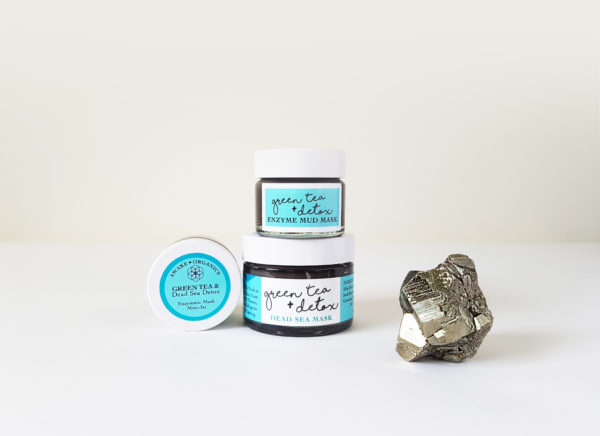 Mini & Full Size Enzyme, Green Tea + Detox, Dead Sea Mud Mask + Cleanser. Organic Mask, Anti-ageing mask, cleansing mask, green tea mask. Pure and natural. Made with Green Tea, Bentonite Clay, Grape Seed, Frankincense, Hemp, Carrot Seed. Consciously Made in England.