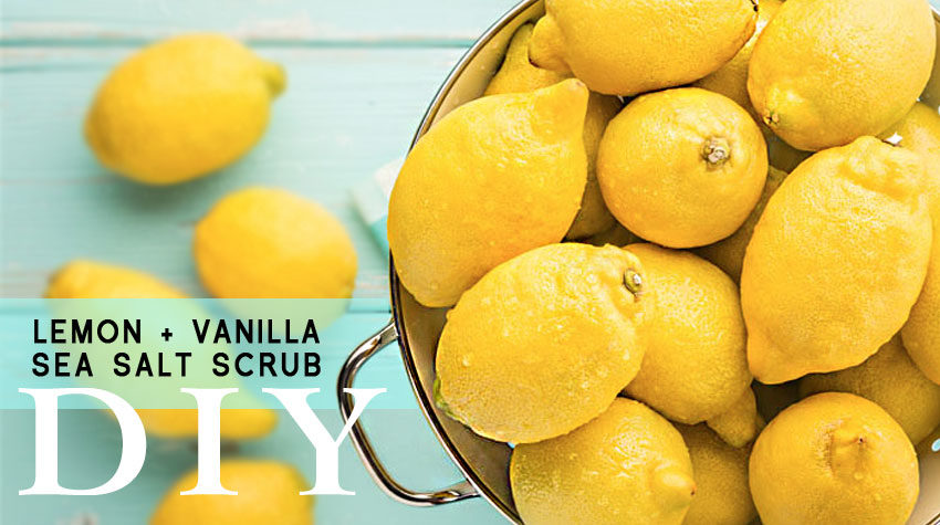 Lemon and Vanilla Sea Salt Scrub. DIY. Plastic Free, No Microbeads. Awake Organics Therapeutic Grade Essential Oils. Natural Ingredients for Beautiful Skin. Made in England.