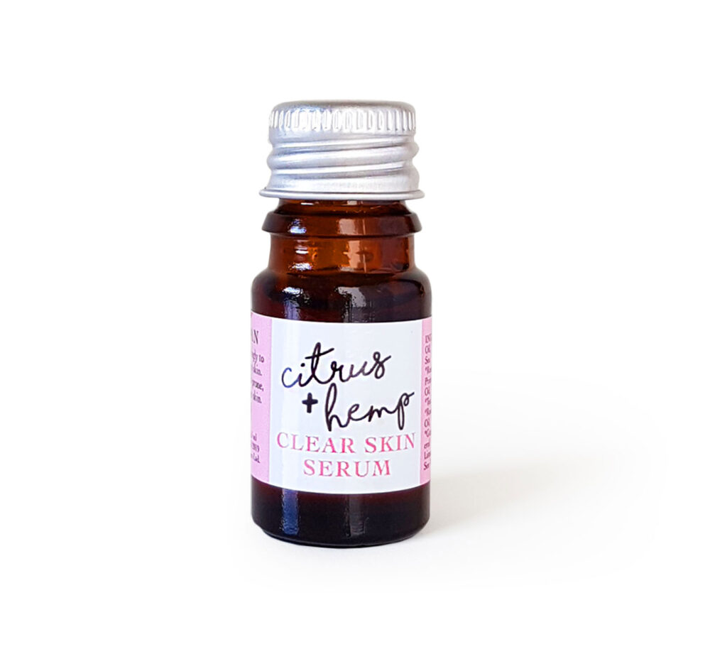 Citrus + Hemp Seed Oil Organic Face Serum. Anti-blemish, for Clear Skin. Anti-ageing and natural. Mood-boosting, happy, essential oils that prevent breakouts and acne. Made with Grapefruit, Tea Tree, Rosemary, Seabuckthorn, Rosehip, Camellia Tea. Consciously Made in England. Adult acne, how to get rid of pimples, how to get rid of spots, adult blemish-prone skin.
