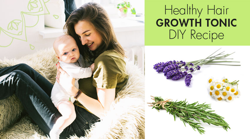 Healthy, Natural Hair Growth Tonic. How to grow your hair. How to get long, healthy hair. Hair loss, women. Hair falling out after baby. How to get your hair back naturally. Natural, hair growth DIY recipe. By Awake Organics.