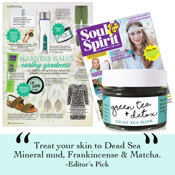Soul & Spirit Magazine Editor Pick. Earth Goddess. Green tea + Detox Dead Sea Mask by Awake Organics, UK.