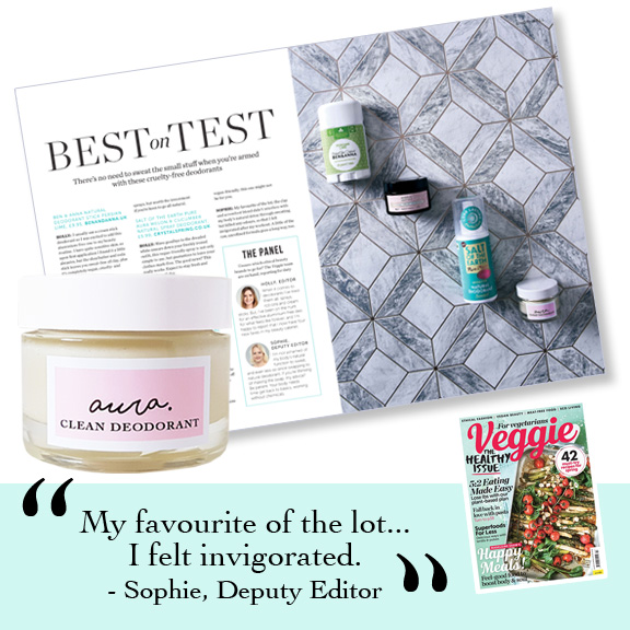Veggie Magazine Best on Test. Cruelty free natural deodorant. Award-Winning, Organic Aura Clean Deodorant. Natural Deodorant That Works. Organic. By Awake Organics. Natural Deodorant UK, Natural Deodorant for Women. I The Stylist Review feature.
