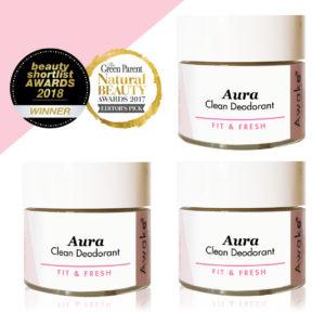 Aura Clean | Natural Deodorant Cream | Aluminium Free | Alcohol Free | Paraben Free | Cruelty Free | Awake Organics | Made in England | Organic Body Care