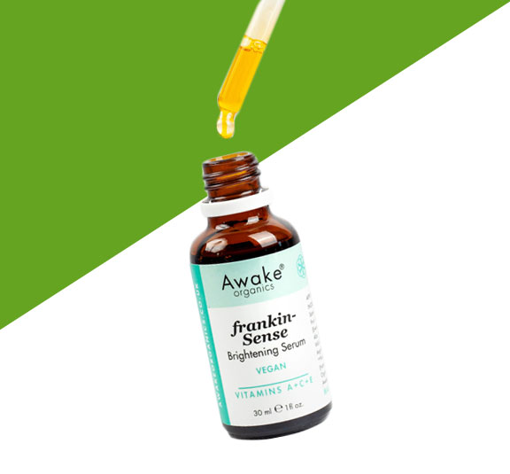 frankincense brightening | natural vegan face serum | UK | cruelty free | paraben free | dry | mature skin | awake organics | natural skin care brand UK | main image