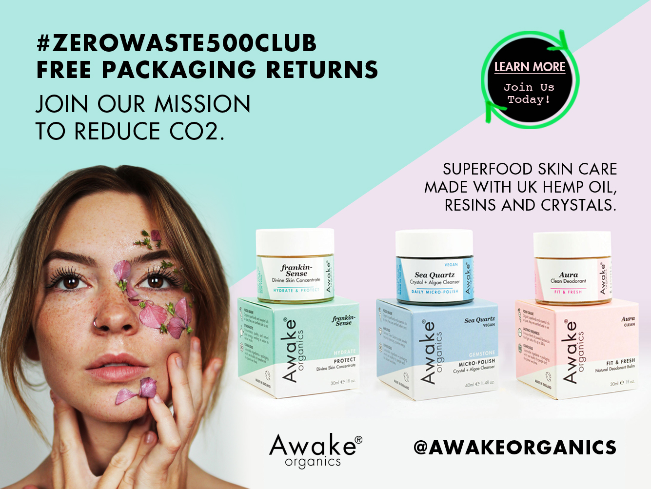 zero waste packaging returns | Awake Organics | #zerowaste500club
