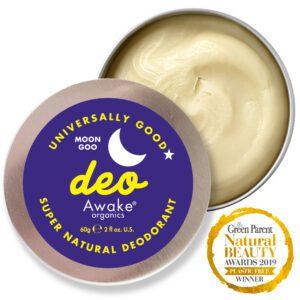 Plastic Free natural deodorant UK | Moon Goo | Aluminium Free | Cruelty Free | Awake Organics | soft texture