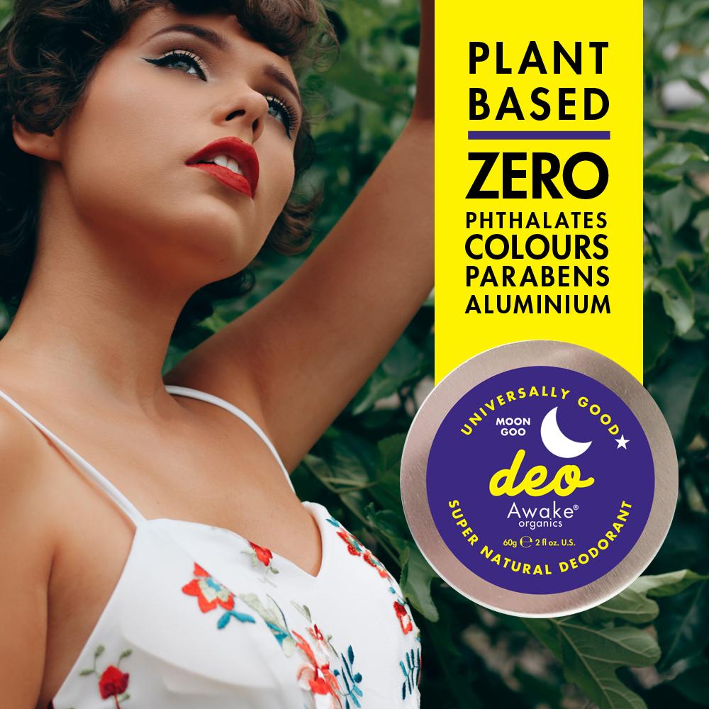 Plastic Free natural deodorant UK   Moon Goo   Aluminium Free   Cruelty Free   Awake Organics   No Nasties