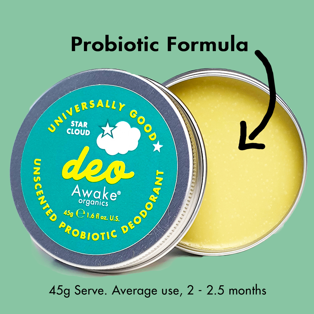 Plastic Free natural Deodorant Unscented Star Cloud Probiotic