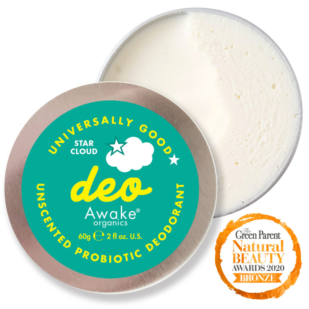 Plastic Free natural Deodorant Unscented Star Cloud Probiotic