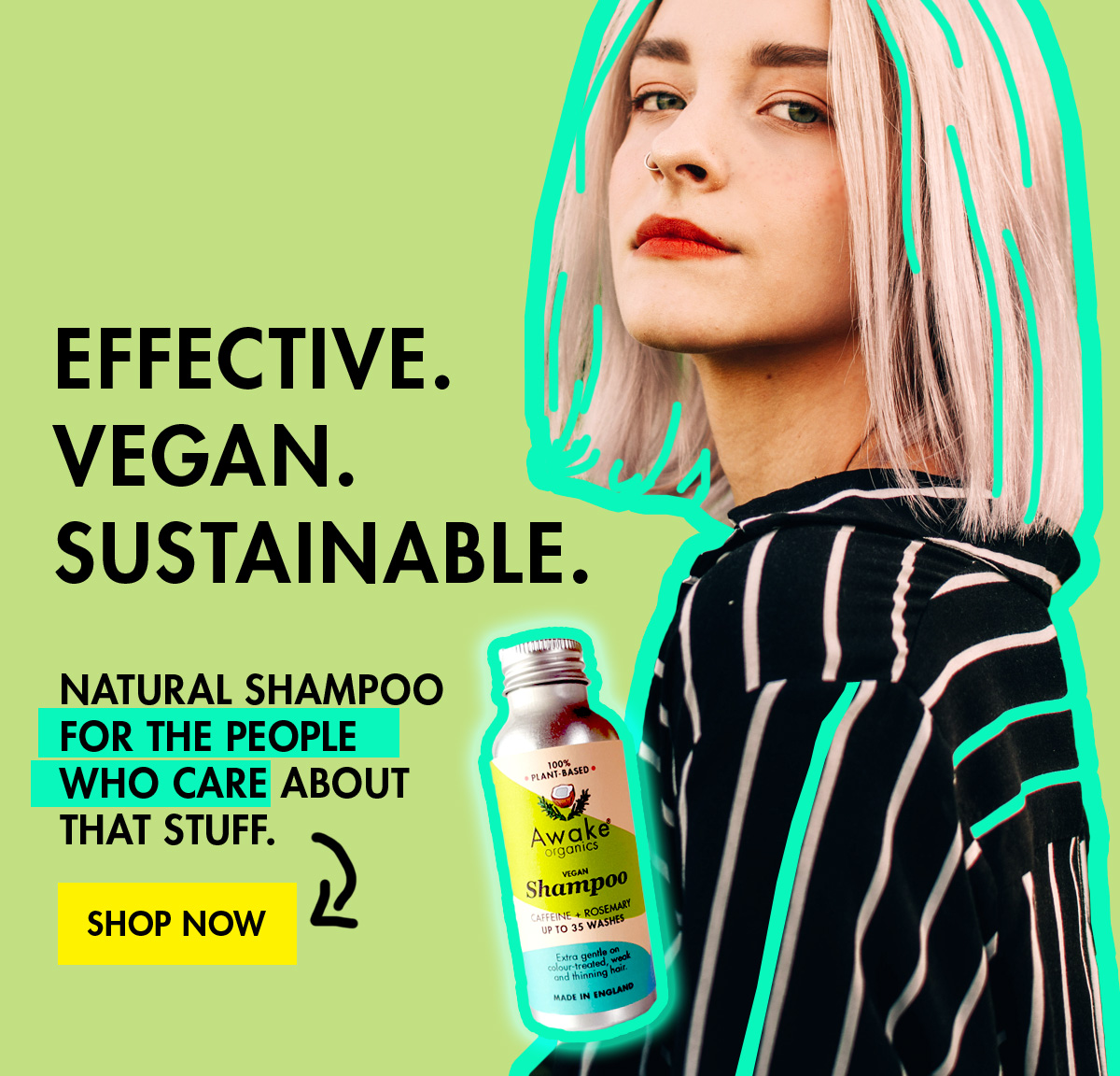 Plastic free shampoo natural vegan no sls with caffeine and rosemary by awake organics-free-shampoo-natural-vegan-no-sls-with-caffeine-and-rosemary-by-awake-organics main image
