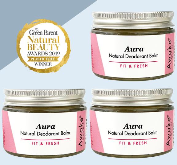 Aura Natural Deodorant | Plastic Free | Aluminium Free | Buy 3 & Save | Awake Organics