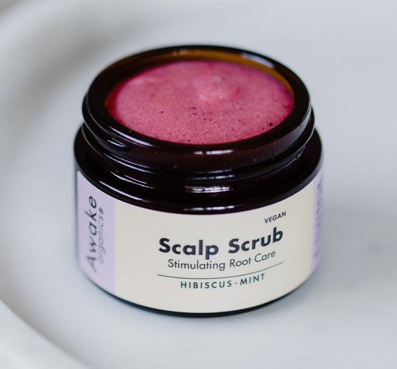 Natural Hair Growth Scalp Scrub Hibiscus Mint Awake Organics