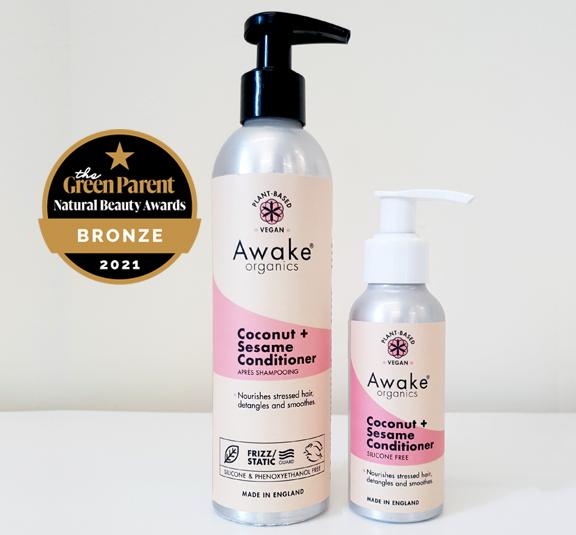 Natural Hair Growth Coconut Sesame Conditioner Awake Organics Plastic Free